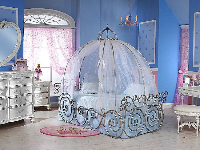 Disney Princess Carriage Bed With Sheer Fabric Frame Sold Separately Hom Furniture Disney Princess Bedroom Cinderella Bedroom Disney Princess Room