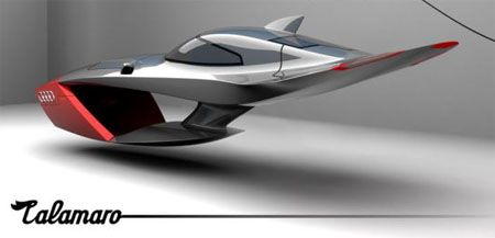 Audi Flying Car Concept. Twist: similar to Jetson's red flying vehicle, but with sleeker cool factor.