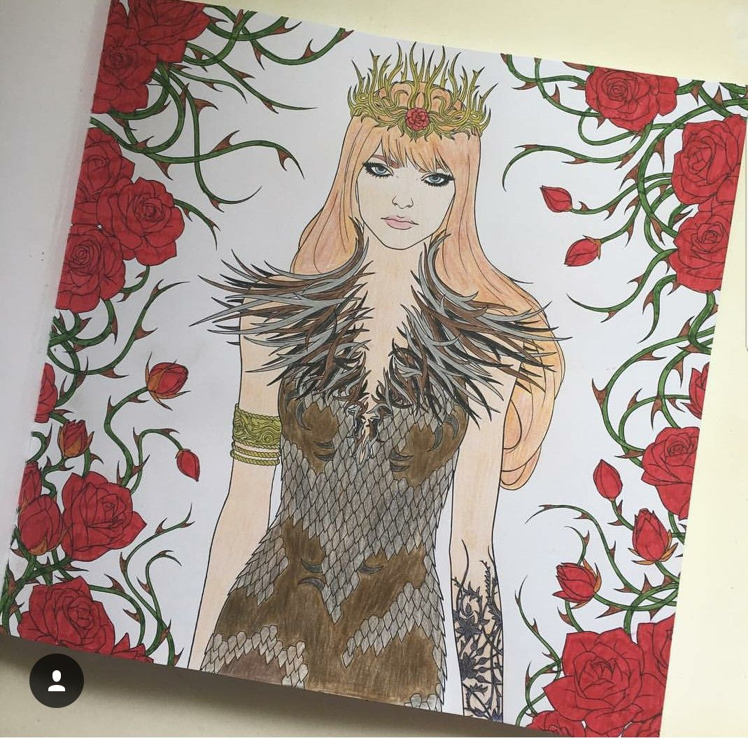 Feyre In The Court Of Thrones And Roses Coloring Book With