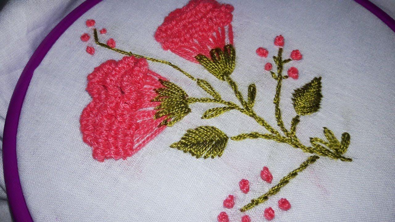 Hand Embroidery Carnation Flower Stitch Design By Cherry Blossom Hand Embroidery Hand Embroidery Videos Stitch Design