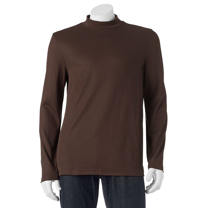 Men's Croft & Barrow® Classic-Fit Solid Mockneck Tee, Size: Small, Brown