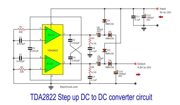 Step Up Converter Circuit Using Tda2822 Eleccircuit Com Power Supply Circuit Circuit Converter