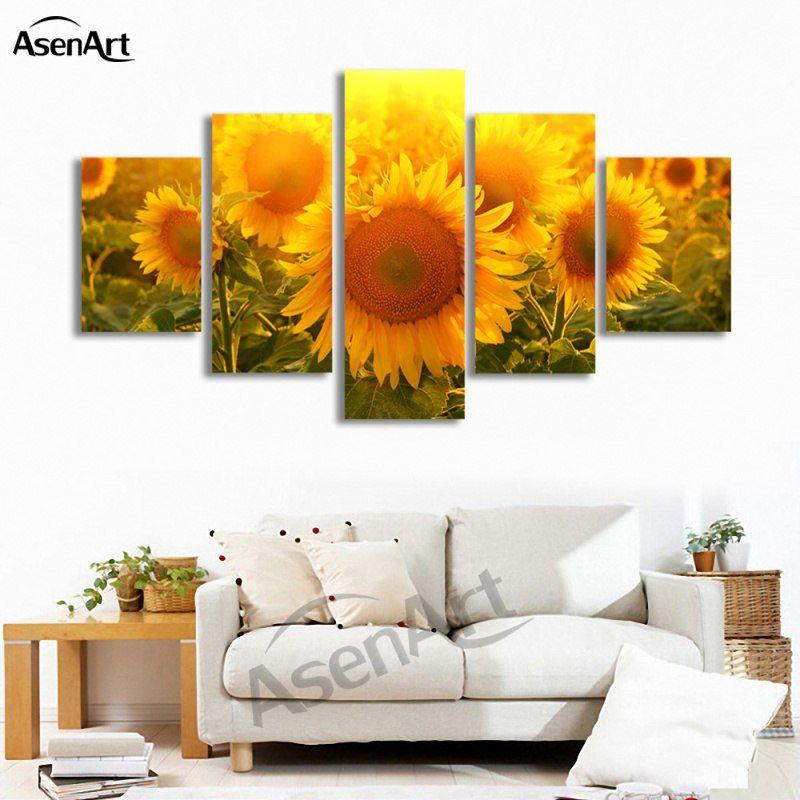 Modern Canvas Wall Art Home Decor Big Sunflower Canvas Print Art Flowers