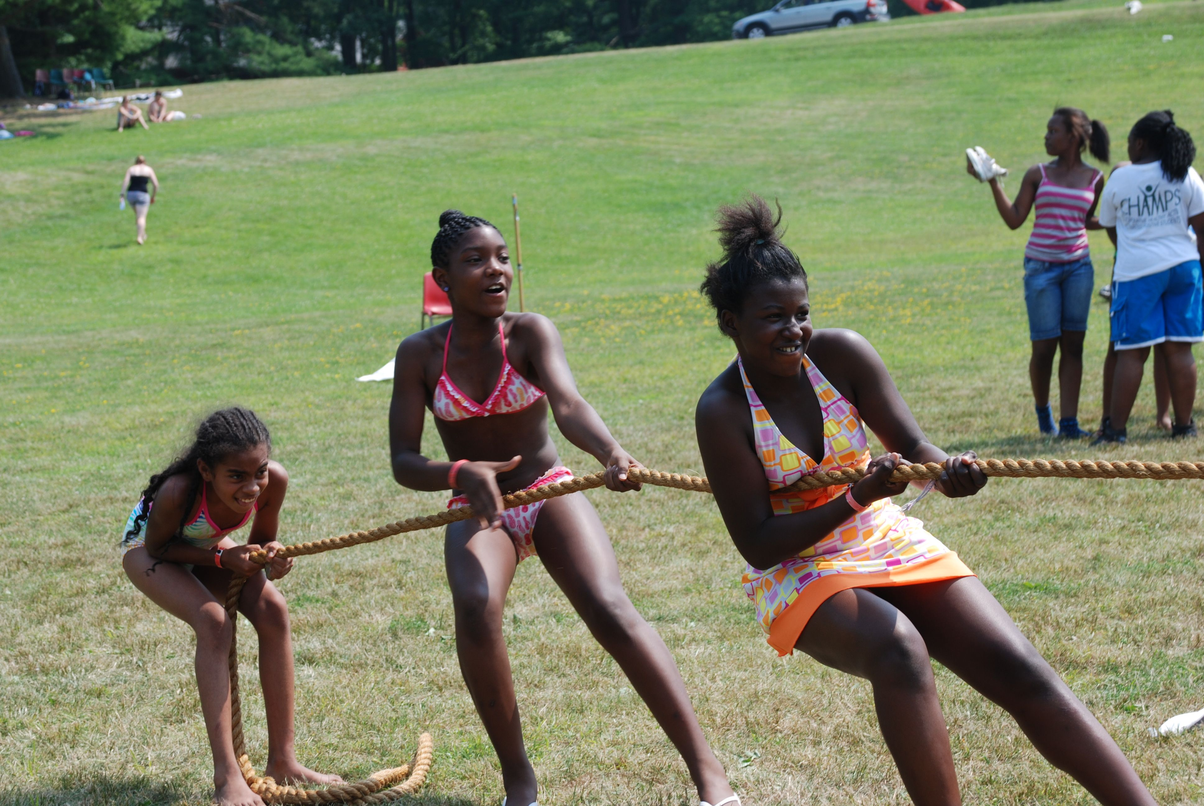 Fresh Air Fund ABC Campers enjoying a game of tug of war