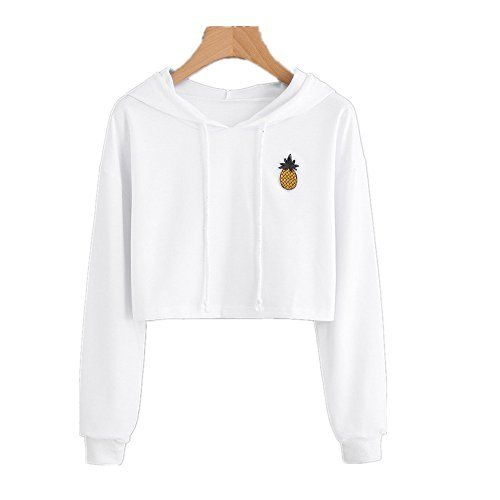 532b6ae8831 Ankola Sweatshirts, Women Fashion Pinapple Applique Crop Top ...
