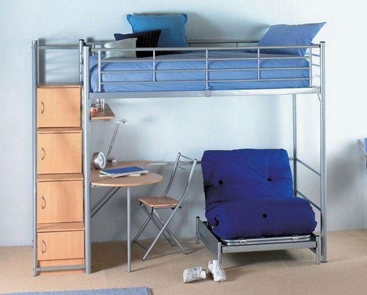 Best Bedroom Light Blue Metal Loft Bed Combined Natural Wooden 640 x 480