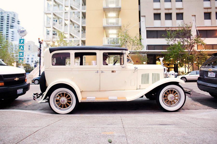 Dreamy vintage getaway car