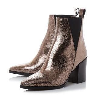 9b920a1f60803e DUNE BLACK LADIES PANCRAS - V Cut Elasticated Side Panel Ankle Boot - bronze