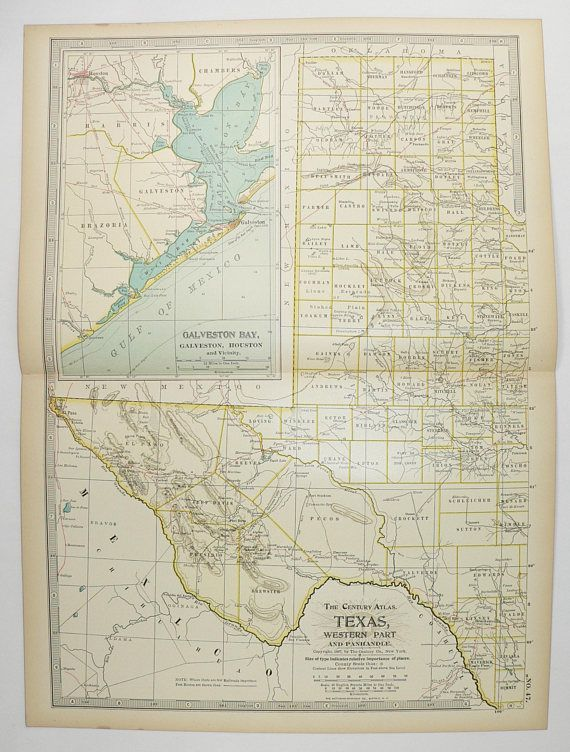 Vintage Texas Map 1899 Antique Map West Texas, Panhandle, Texas ...