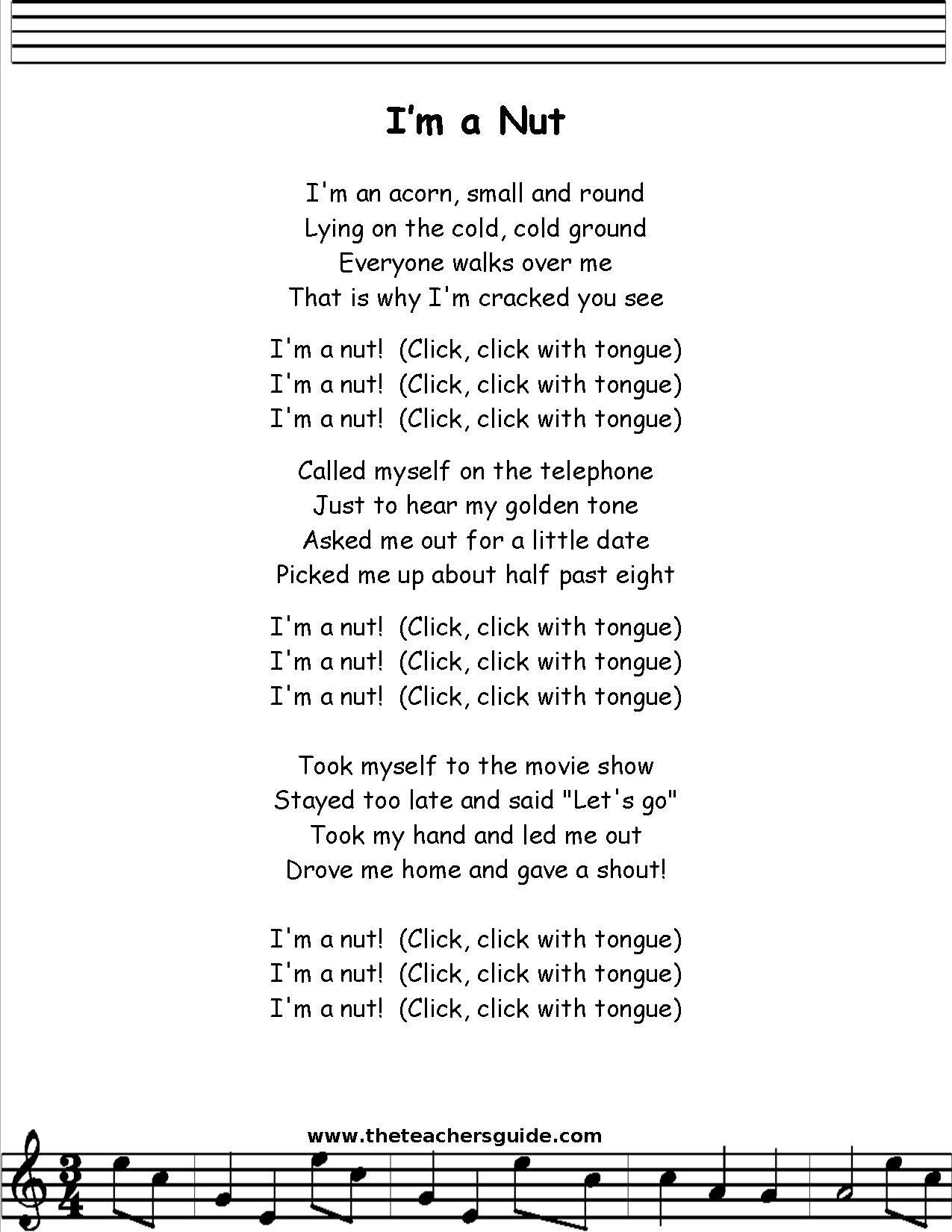 I M A Nut Lyrics Printout