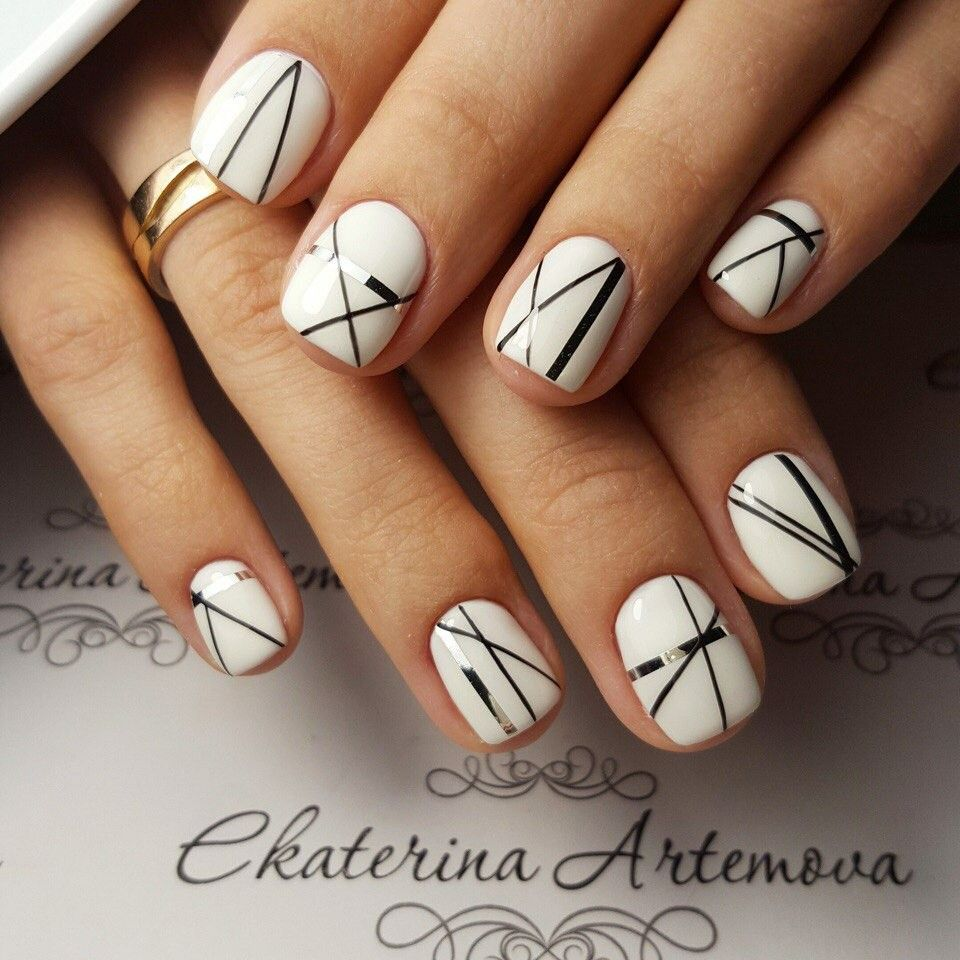 White Nails With Silver And Black Abstract Angular Line Art Re