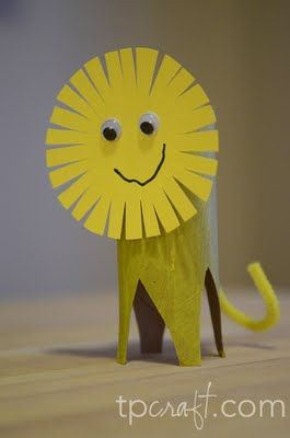 Make a lion out of a recycled empty toilet paper roll. Cute kids craft