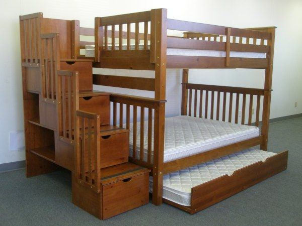 Bunk Beds Full Over Full Stairway Expresso Trundle Tempat