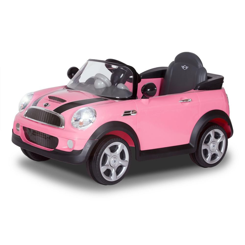 Rollplay 6 Volt Mini Cooper Battery Ride On Vehicle In Pink W446ac P The Home Depot In 2021 Ride On Toys Mini Cooper Kids Ride On