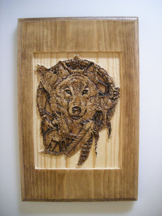 Carved wood wolf dreamcatcher wall decor home