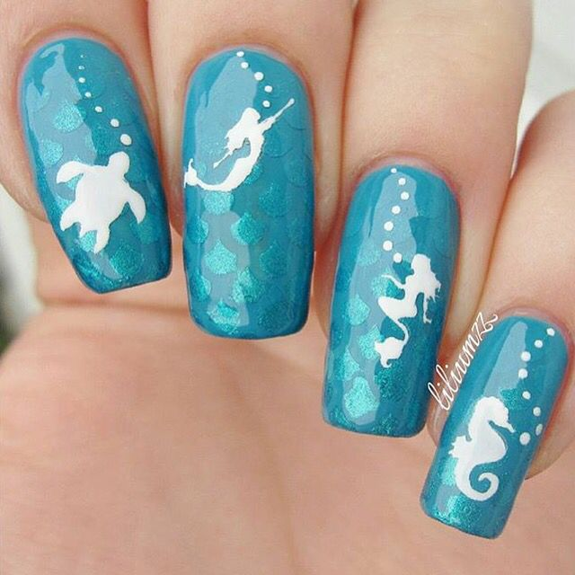 Mermaid nail decals nail stencils turtle nails seahorses and mermaid nail decals nail stencils prinsesfo Gallery