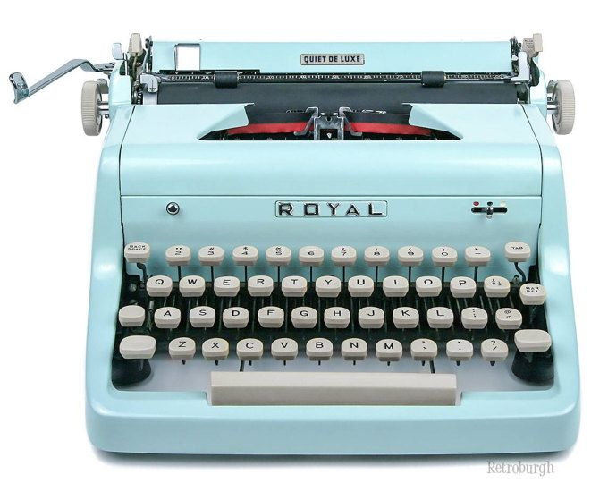 1955 Light Blue Royal Quiet De Luxe Typewriter Professionally Serviced Blue Typewriter Royal Typewri Royal Typewriter Working Typewriter Vintage Typewriters