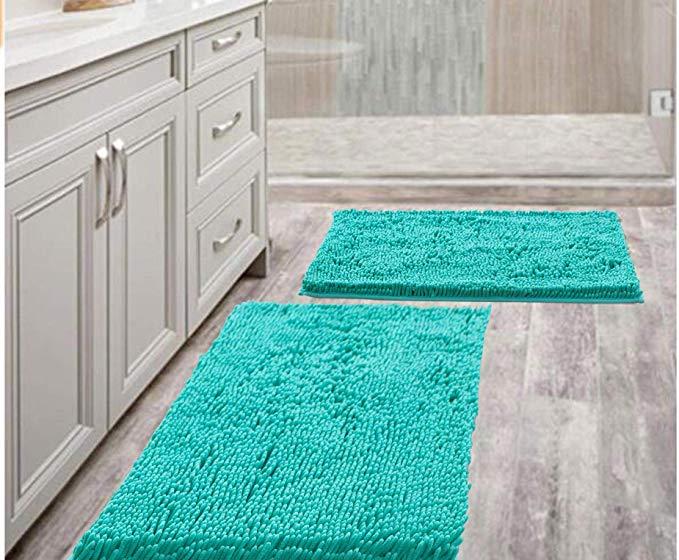 Amazon Com Bathroom Rugs Mat 20 X 30 Set Of 2 Turquoise Luxury