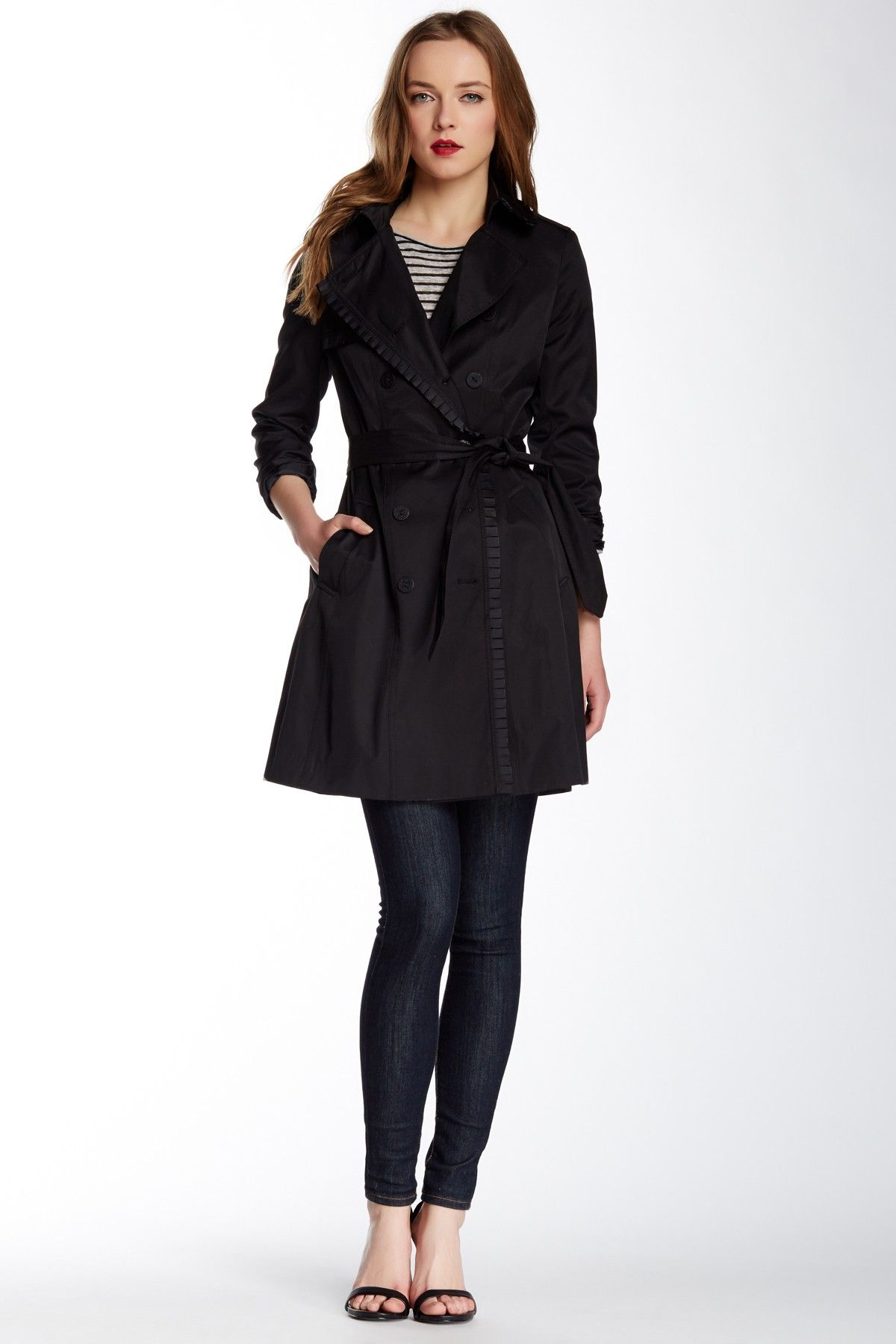 Mulberry Ruffle Trim Double Breasted Trench Coat by Tahari on @nordstrom_rack