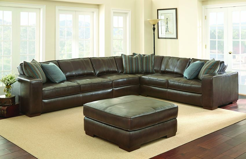 Anna Leather Sectional Silver Living Room Furniture Sectional
