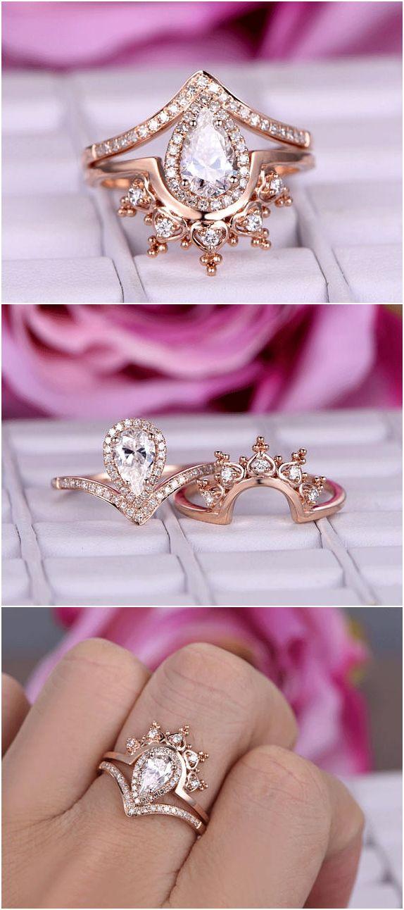 Pear Shaped Moissanite Engagement Ring Set 14k Rose Gold Diamond