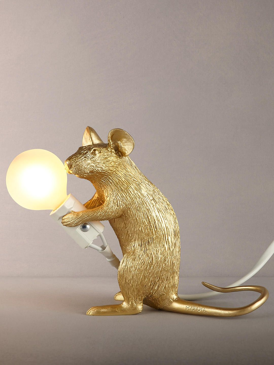 Seletti Sitting Mouse Table Lamp, Gold | Lamp, Table lamp