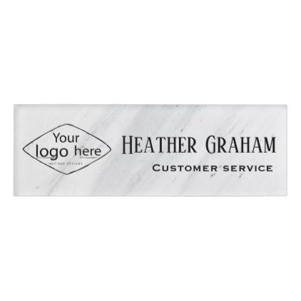 Elegant white marble custom logo name tag custom logos elegant white marble custom logo name tag name tag templatescorporate businessbusiness wajeb Gallery