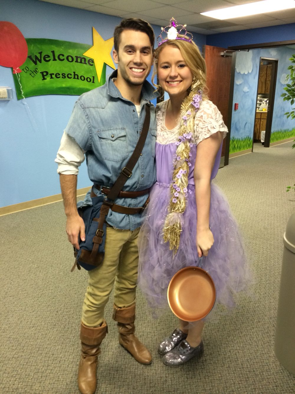 Diy Tangled Rapunzel And Flynn Rider Costume Flynn Rider Costume Couple Halloween Costumes Diy Couples Costumes