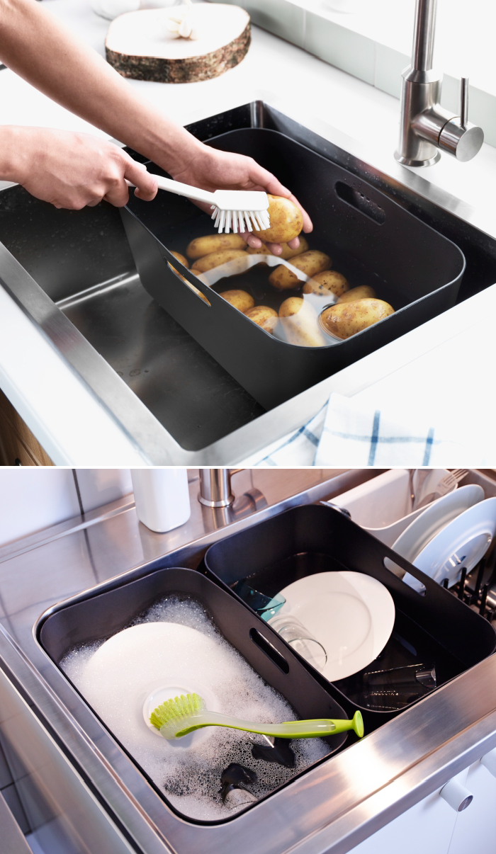 Kitchen Sink With Clean Dishes the boholmen rinsing tub helps you to conserve water while washing