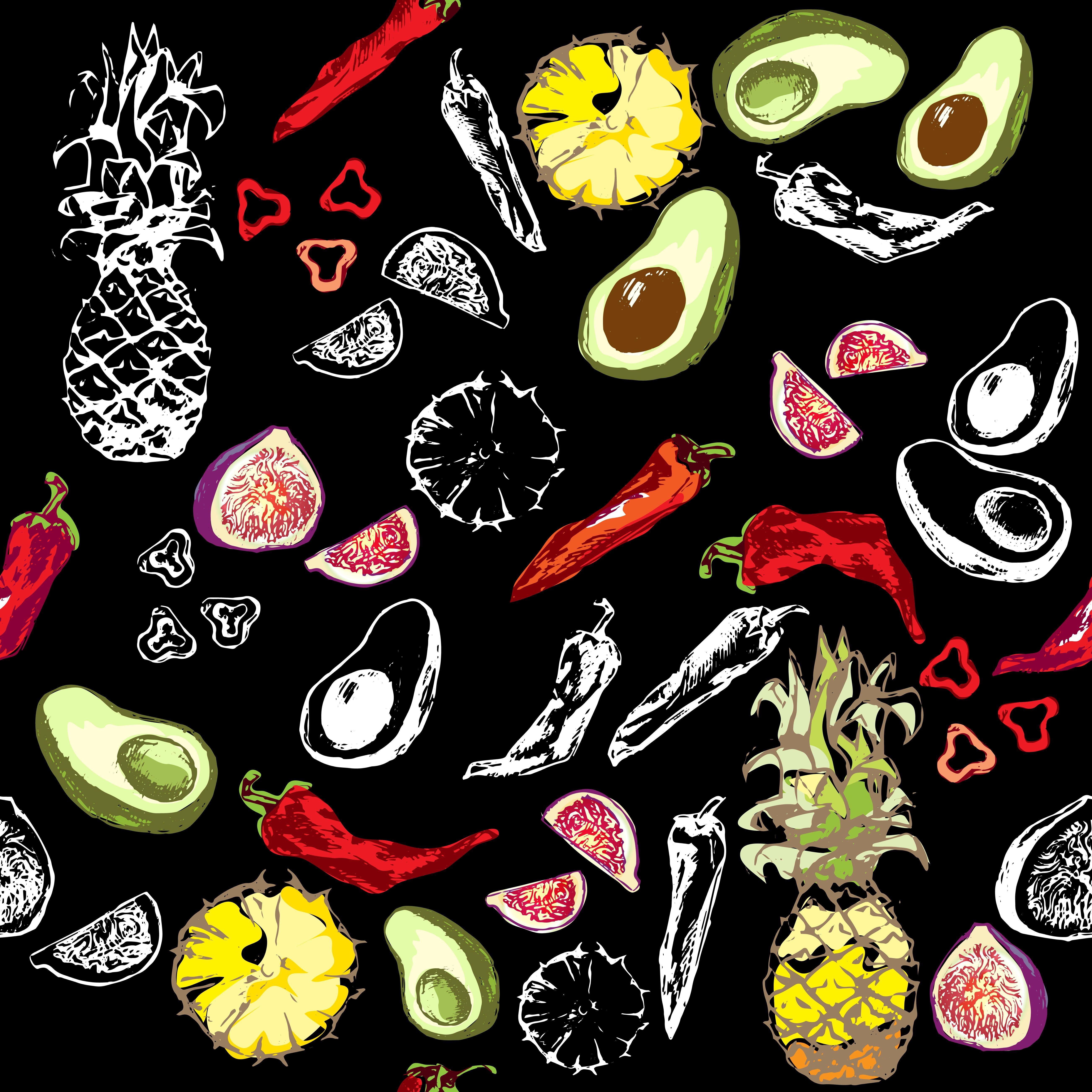 figs, chili pepper, pineapple, avocado, white outline