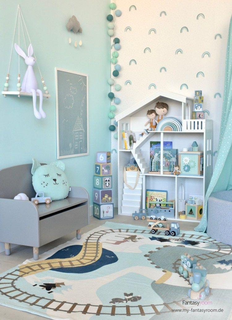Kreatives KinderSpielzimmer für Jungen in Mint & Blau