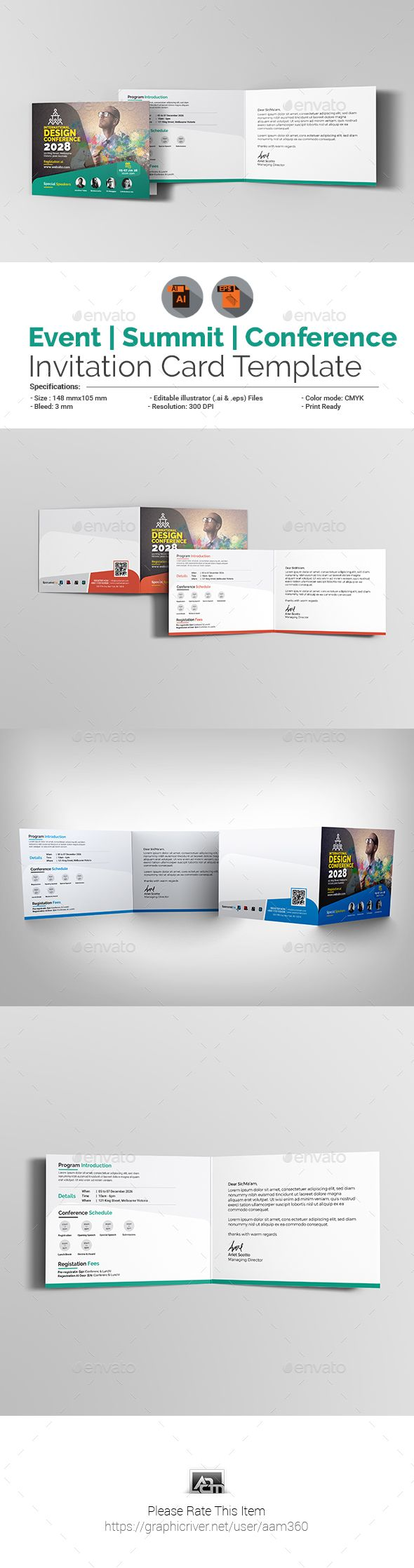 event summit conference invitation card template vector eps ai