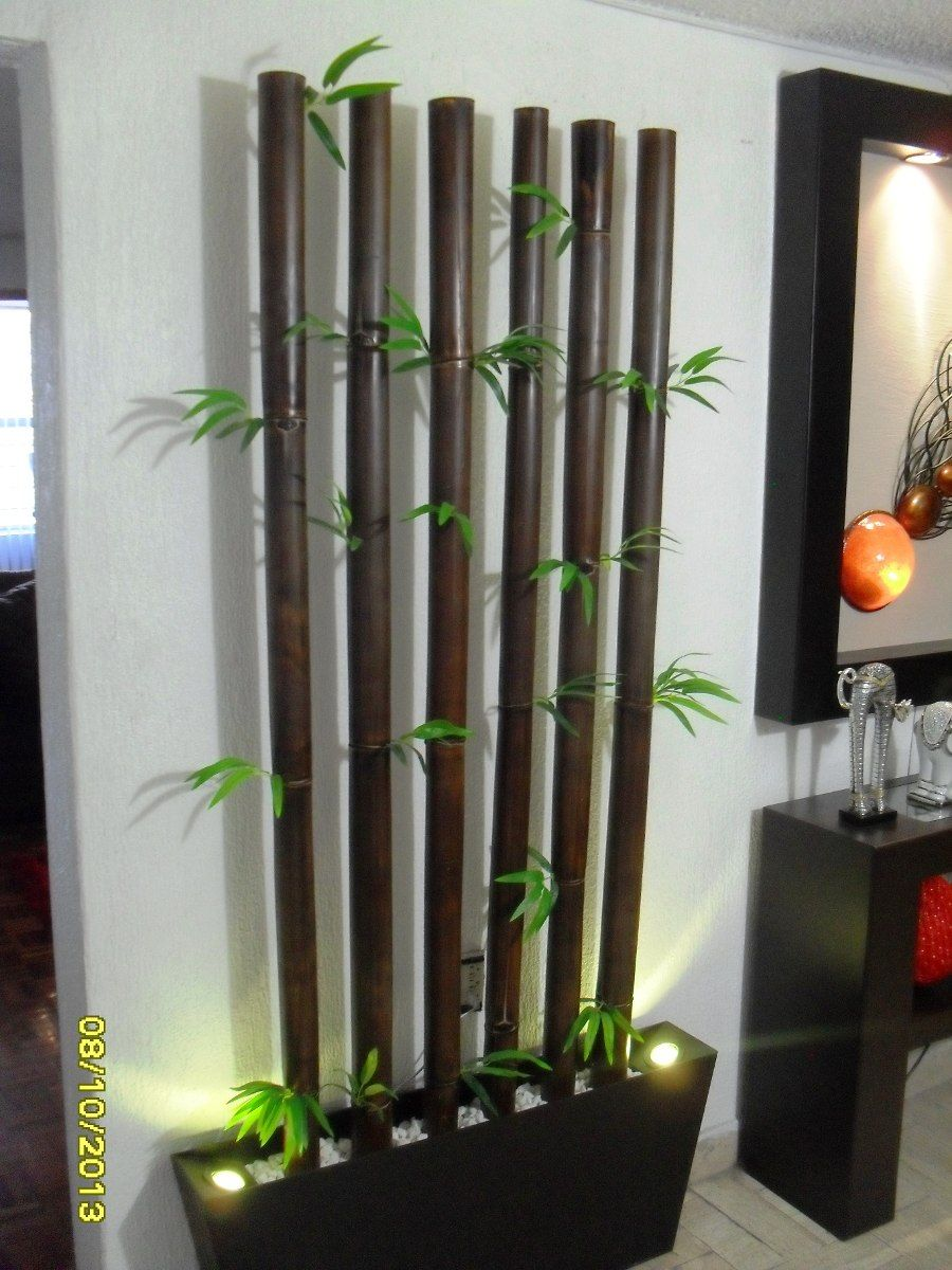 Jardinera bambu tratado con 2 lamparas led graduables for Pinterest decoracion de interiores
