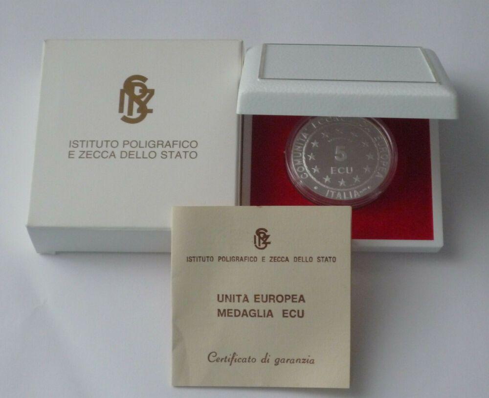 Comunita Economica Europea 5 Ecu 1993 Italia Argento Silver Proof
