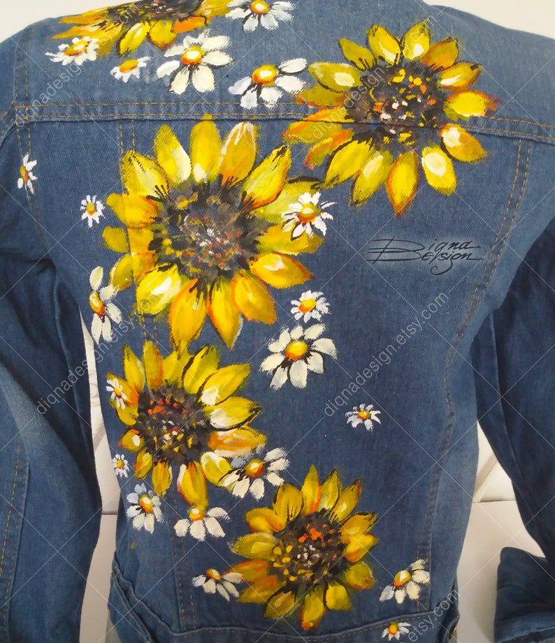 Sunflower Jean Jacket, Hand Painted Jacket, Sunflowers ...