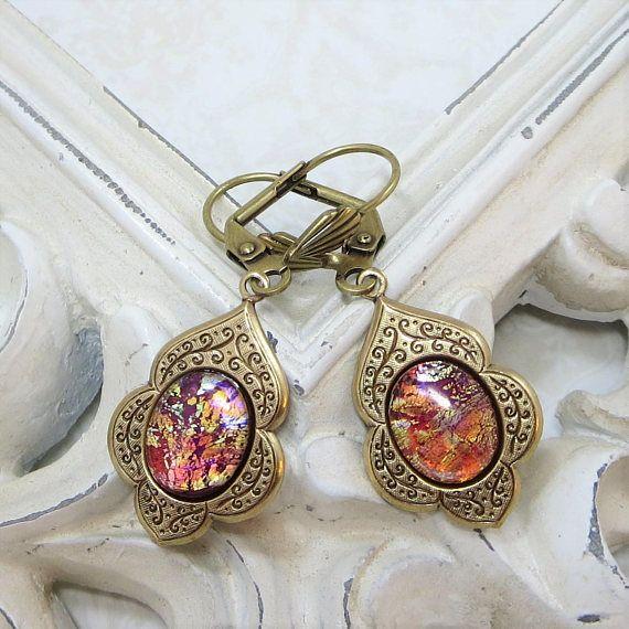 Red Fire Opal Earrings Ruby Rare Vintage