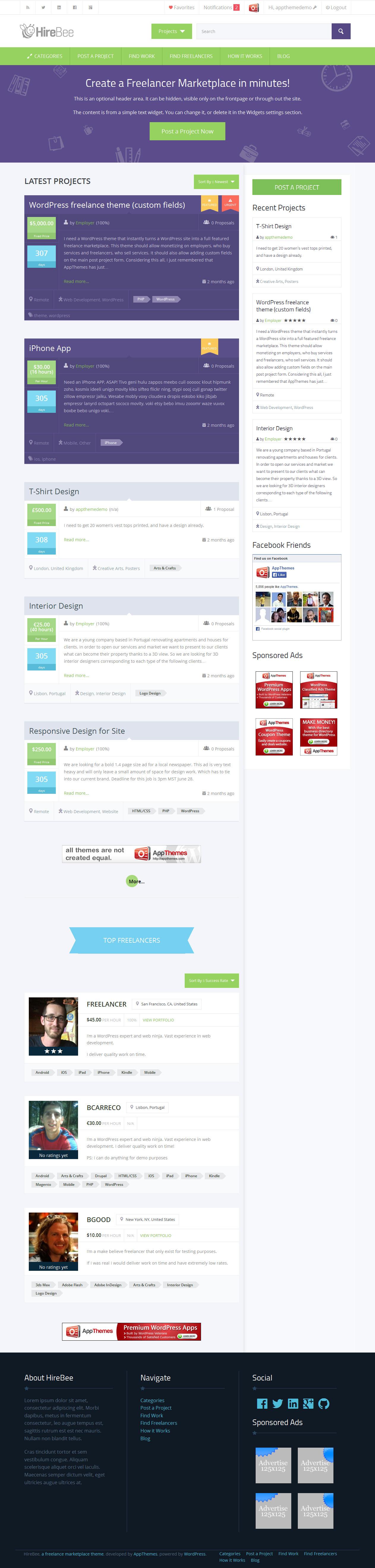 HireBee from AppThemes - a cool wordpress theme.   blog   Pinterest ...