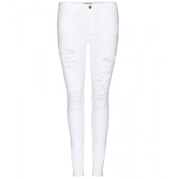 Frame Le Color Ripped Skinny Jeans ($285) ❤ liked on Polyvore featuring jeans, pants, bottoms, calças, white, destroyed jeans, white jeans, destructed skinny jeans, white ripped jeans and white skinny jeans