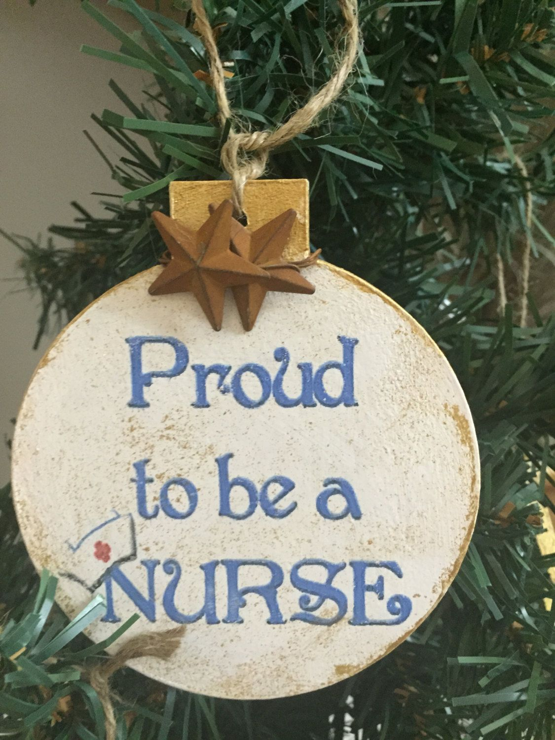 Proud to be a Nurse-4 by 4 wood christmas ornaments by Lollysporch ...