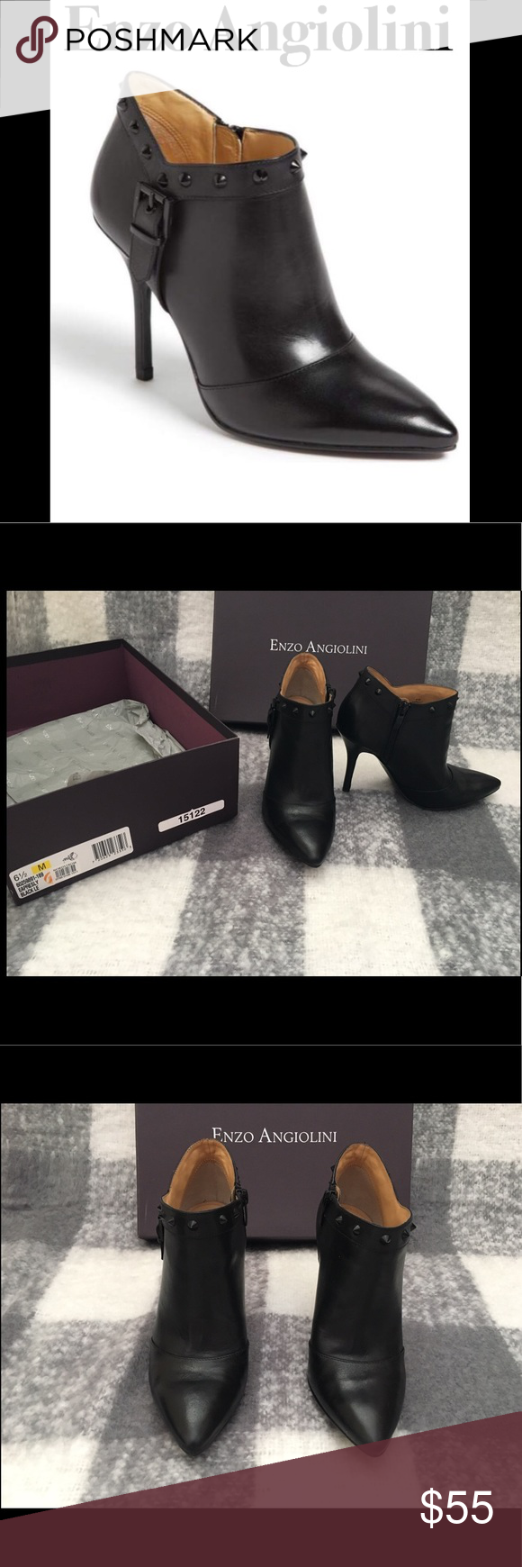 Enzo Angiolini Presley Bootie Used Enzo Angiolini blackout Presley bootie  with studs and buckle around the 01dfca7c1