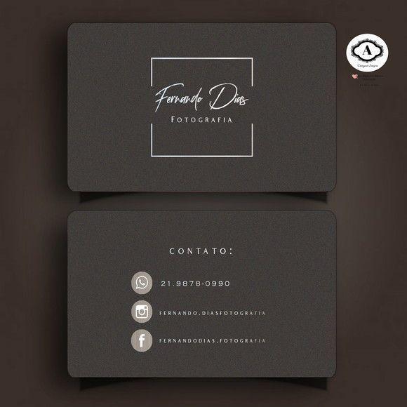 Cartao De Visita Tamanho 9x5 Cm Vendido Somente A Arte Impresso Feita P Graphic Design Business Card Elegant Business Cards Design Photography Business Cards
