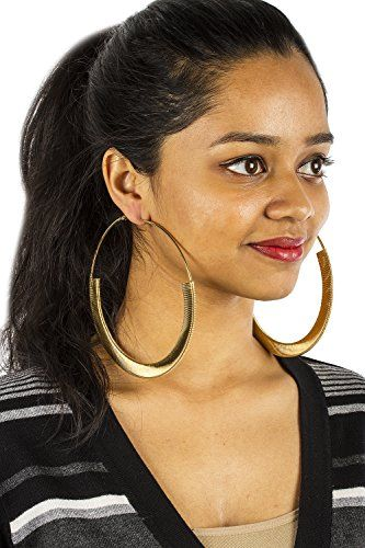 Goldtone Spring Style Extra Large 4 Inch Hoop Earrings