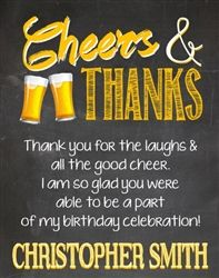 Cheers To Beers Adult Birthday Party Thank You Card