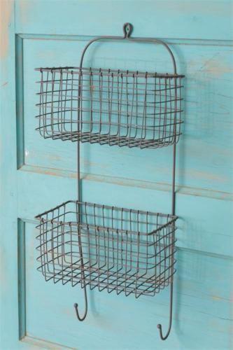New Country Primitive Rustic Wire Wall Basket Hooks Vegetable Fruit Bin Organisation Fil De Fer Broche