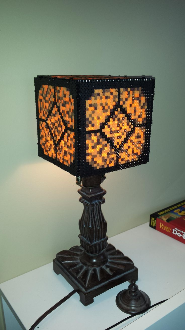 Redstone Lamp With Perler Beads Diy For The Very Crafty Minecraft Beads Beaded Lamps Minecraft Room