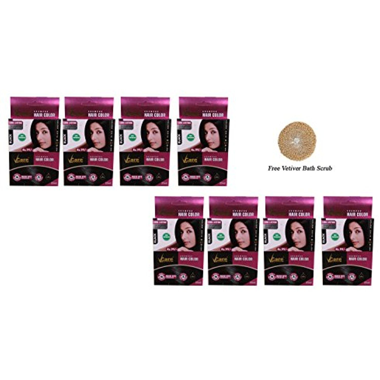 Pack of 8 Vcare Shampoo Hair Color Black 25ml Free