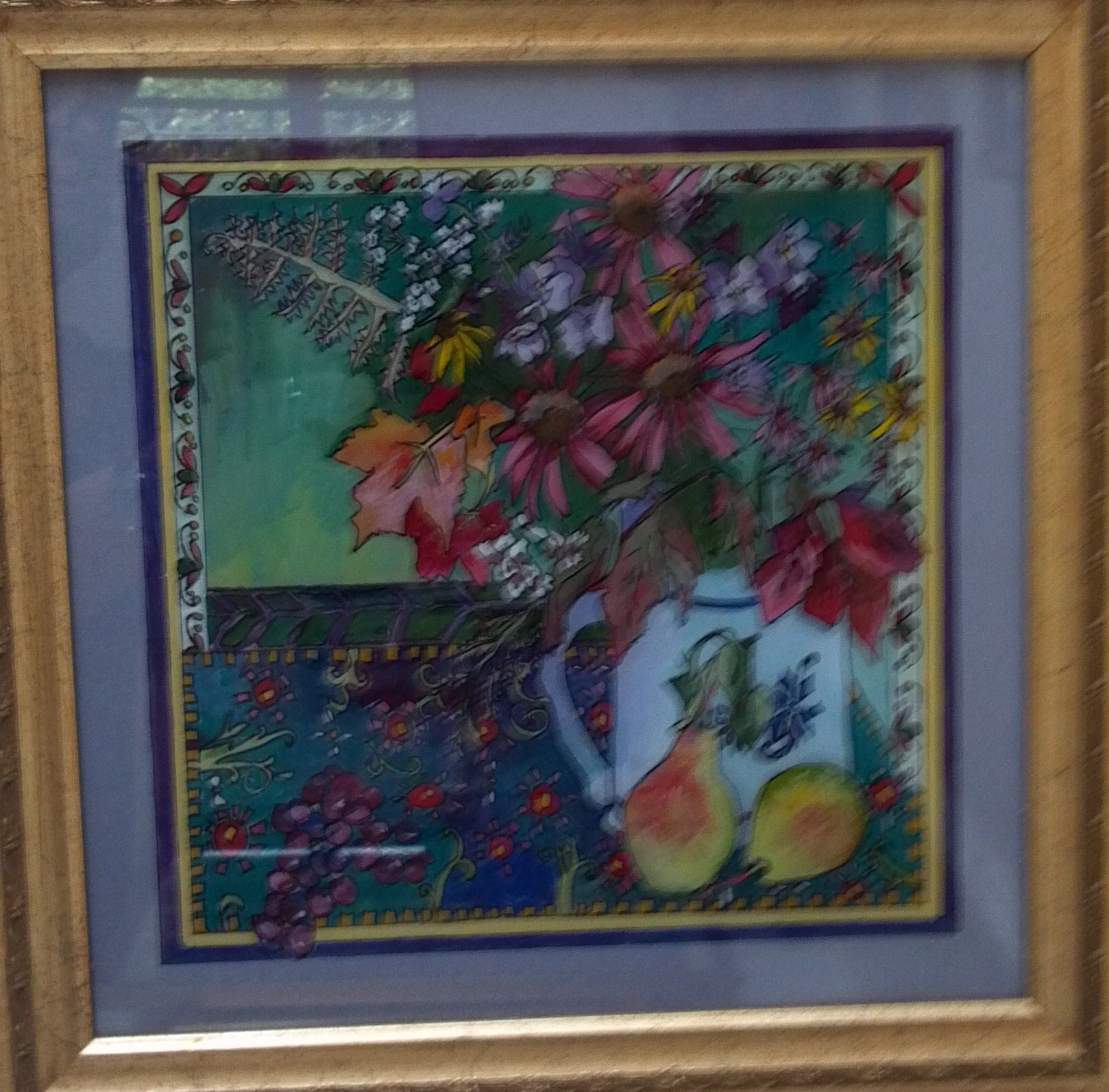 Fall Flowers Painted Behind Glass With Acrylic Paint Reverse