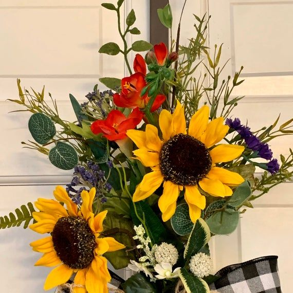 Photo of Sunflower wreath for front door Summer wreath | Summer swag, buffalo check