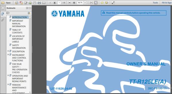 Yamaha Ttr125e Tt R125le Tt R125 Ttr 125 Shop Manual 2009 2015 Pdf Manual Pdf Download Owners Manuals