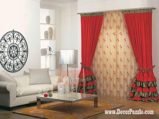 Contemporary Red Curtain Style 2015 For Living Room, Modern Curtain Designs